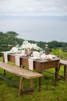 rustic shabby chic wedding reception... love the picnic style table