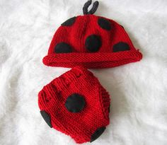 Knit Lady Bug Hat and Diaper Cover for Baby Girls and Boys