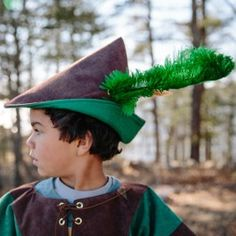 Woodsman's Hat from Bella Luna Toys. Suede cloth and wool-blend felt with a real ostrich feather! $22.50