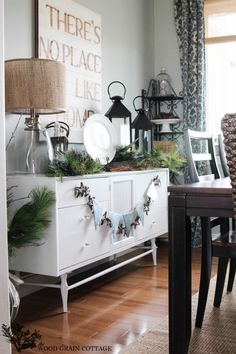 So many ideas here for holiday decorating!  Christmas Home Tour 2013 by The Wood Grain Cottage