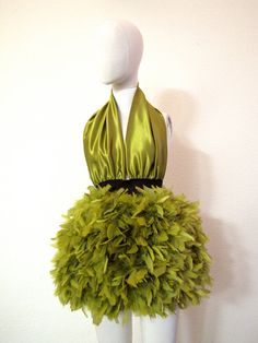 Olive Green Wedding Party Feather Mini Halter Dress by CGHeaven, $199.00