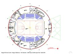 The game plan for the Beggs Event Center in Beggs, Oklahoma. The 160' diameter gymnasium/event center is built on a 24' Orion wall and provides seating for over 1800 spectators. — www.monolithic.com