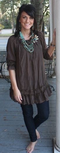 25822 Sassy Lady - Brown Babydoll Tunic  $38.95  Size: Small, Medium, Large, XLarge