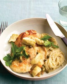 Chicken with Artichokes and Angel Hair Pasta Recipe