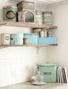 Great collection of vintage tins in a soothing color scheme.  I may need to start shopping for my own little collection. the bread, pastel, kitchen storage, vintag tin, color, vintage tins, bread boxes, old tins, vintage kitchen