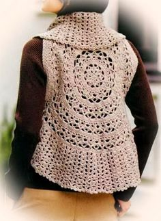 Crochet Sweater: Crochet Vest Pattern For Women - Circle Vest ♥LCC♥ with diagram Beauti Circl, Sweater Patterns, Crochet Sweaters, Circle Crochet Vest, Vest Pattern, Circl Vest