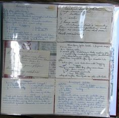 Preserve your Family Recipes.  Use a scrapbook binder and divided page protectors to keep your handwritten family recipe cards safe in.