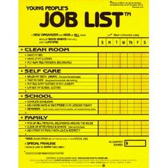 BEST CHORE CHART EVER!!! Young People's Job List: A New Organizer for Kids of All Ages