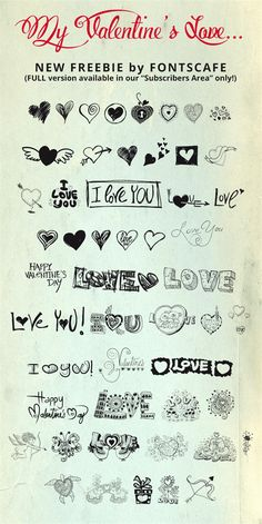 Free dingbat font with lots of valentines symbols.