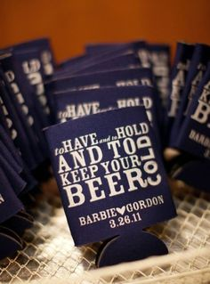 Christy's Gourmet Gifts - Craft Beer Themed Wedding - To Have and To Hold Beer Cozy Favour  Drink cold:)