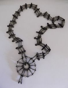 Vintage Black Safety Pin Necklace
