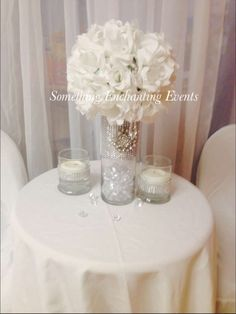 White flowers and decor at a Baby Shower Party!  See more party ideas at CatchMyParty.com!