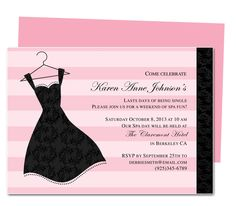 Printable DIY Bachelorette Party Invitations : LBD Bachelorette Party Invitation Template for WORD, Publisher, OpenOffice, and Apple iWork Pages. Download, edit, print.