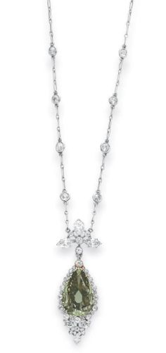 Belle Epoque Colored Diamond Pendant Necklace Set With A Pear-Shaped Fancy Dark Gray-Yellowish Green Diamond And Old European And Marquise-Cut Diamonds, Mounted In Gold And Platinum   c.1910  -  Christie's