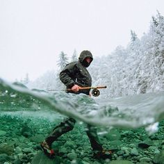 Fishing in a freezing water
