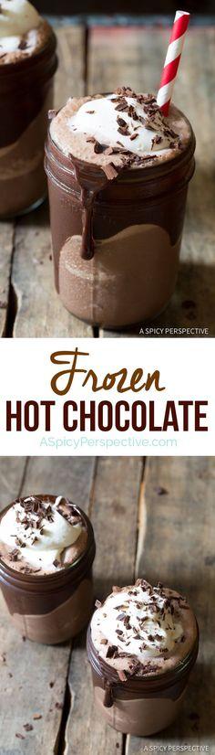 "The Best Frozen Hot Chocolate Recipe | <a href=""http://ASpicyPerspective.com"" rel=""nofollow"" target=""_blank"">ASpicyPerspective...</a>"