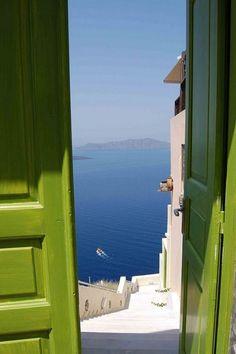 Door to happiness the doors, green doors, color, the view, amalfi coast, front doors, sea, place, ocean view