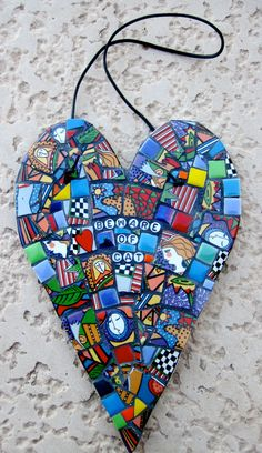 Image detail for -Mosaic Tile Heart 'Beware of Cat' Decorative wall hanging w/ China ...