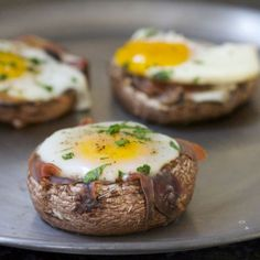 Baked Eggs in Prosciutto-Filled Portobello Mushroom Caps by shape #Eggs #Mushrooms #GF