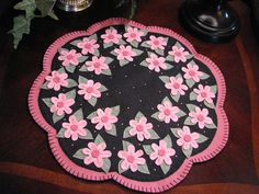 Hand Stitched Primitive Cherry Blossoms WoolFelt by JennysToleShed, $49.00
