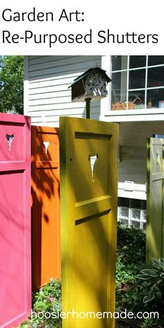 Garden Art Re-Purposed Shutters on hoosierhomemade.com