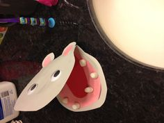 Hippo craft with teeth!  Working on dental hygiene this week.  We made him a tooth brush, too!