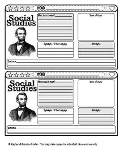 A vocabulary journal entry template for social studies words.