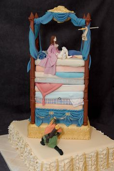 Competition Cake.  Fairytale characters get married.  I chose Princess and the Pea and Robin Hood. cakes fairytales, cake competition, robin hood, competit cake, princess pea cake, amaz cake, cake art, eat cake