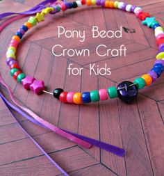Easy Pony Bead Crown Craft for Kids to make and wear