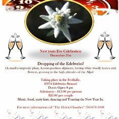 December 31, 2013: Dropping of the Edelweiss in Helen, #Georgia.