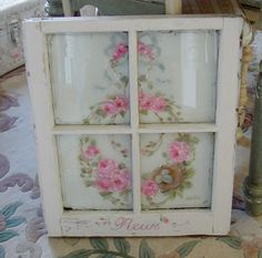Old window w/painted roses