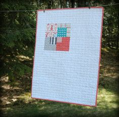 Baby Quilt HandStitched Binding Lotta Jansdotter by TheEarlyGirl  #munire #pinparty #MadeinUSA