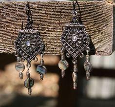 Gypsy's Treasure Abalone Earrings by Phantasmagoricum on Etsy, $10.00