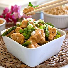 Healthy Chicken with Peanut Butter, Coconut -Lime Sauce recipe with brown rice. Healthy family meal, great for parties: Super Bowl, lunch and dinner.