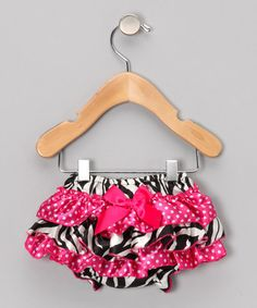 Take a look at this Hot Pink Zebra Ruffle Diaper Cover - Infant by Under The Hooded Towels on #zulily today!