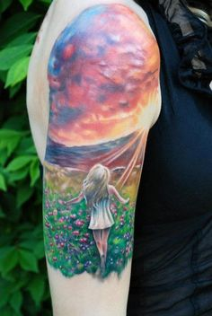 Tattoo with sunset, field of flowers & girl  by Kyle Cotterman