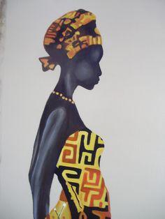 mano negra, africana de, para hacer, trabajo para, cuadro pintado