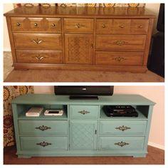 Before & After. Dresser turned media stand!