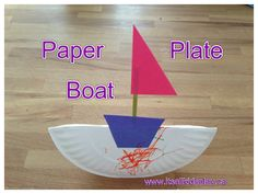An easy paper plate craft for toddlers. It's a boat on the ocean!    #oceancrafts #toddlercrafts #paperplates #kidscrafts