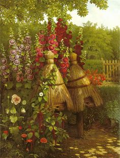 Hollyhocks and Bee Skeps