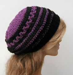 Black charcoal orchid beanie hippie small by PurpleSageDesignz, $ 20.00