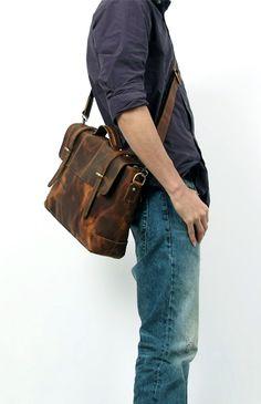 """Vintage Crazy Horse Leather Briefcase / Messenger / 14"""" Laptop 13"""" MacBook Bag"""