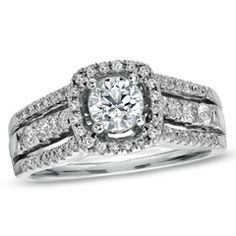 Mastercarved 1 CT. T.W. Certified Diamond Framed Engagement Ring in 14K White Gold (I-J/I1) - View All Rings - Zales