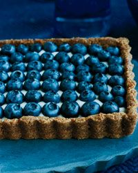 Honeyed Yogurt and Blueberry Tart with Ginger Crust | The creamy yogurt here is mixed with honey so it's deliciously sweet and tangy.