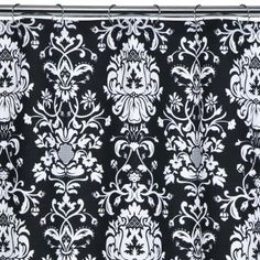 shower curtain, black and white