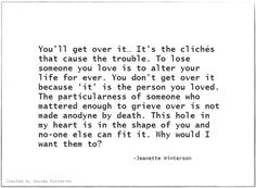 Quotable - Jeanette Winterson ... on loss / death