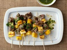 Giada's Beef Skewers with Pineapple and Parsley Sauce