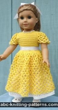 Free Crochet Pattern for American Girl Doll Princess Dress