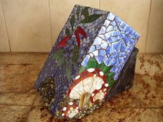 Mosaic Kitchen Knife Block | Rachael Cao  Stained glass, recycled glass, tempered glass, natural stone