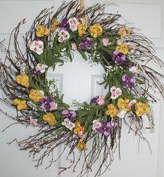 Pansy Sunshine Silk Spring Wreath